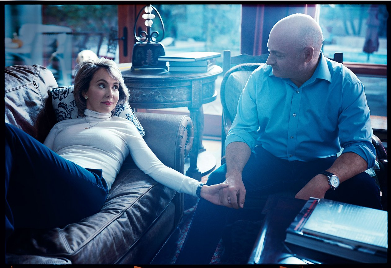 Gabrielle Giffords and her husband, Mark Kelly, at their Tucson, Arizona, home